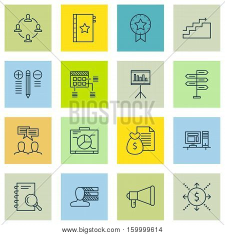Set Of 16 Project Management Icons. Can Be Used For Web, Mobile, UI And Infographic Design. Includes Elements Such As Promotion, Office, Analysis And More.