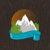 Vector illustration - color landmarks emblem painting on a black wood board poster