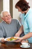 stock photo of meals wheels  - Senior Man Being Served Meal By Carer - JPG