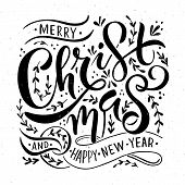 Lettering merry Christmas For Christmas/new Year Greeting Card, Invitation Template poster