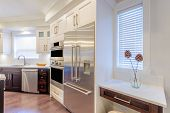 Modern, bright, clean, kitchen interior with stainless steel appliances in a luxury house poster