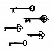 stock photo of skeleton key  - Vector collection of five antique skeleton keys on a white background - JPG