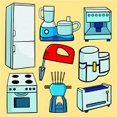A set of 8 vector illustrations of food processors, toaster, mixer, stoves, fondu and a refrigerator
