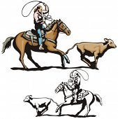 foto of brahma-bull  - Illustration of a rodeo calf roping - JPG