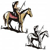 picture of cree  - Illustration of an indian warrior riding a horse - JPG