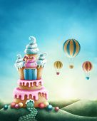 Illustration of fantasy sweet land poster