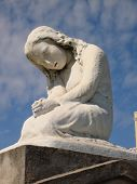 stock photo of laveau  - Famous weeping girl crypt art of St - JPG