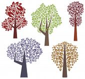 stock photo of fall trees  - Vector tree designs in a single style - JPG
