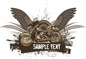 pic of street-rod  - Vector grunge background with a hot rod motorcycle and wings - JPG