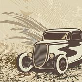 stock photo of street-rod  - Hot rod background with a retro car - JPG