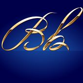 pic of letter b  - Old styled decorative characters of pure gold - JPG