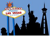 las vegas with buildings and sign vector
