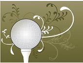 golf ball on tee with foliage behind