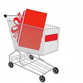 stock photo of thrift store  - shopping cart with present - JPG