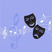 drama masks with musical notes