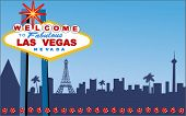 picture of las vegas casino  - Las Vegas Welcome sign with strip behind  - JPG