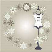 stock photo of hourglass figure  - bodyform surrounded by flowers  - JPG