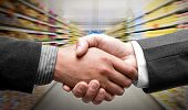 image of grocery store  - Handshake at supermarket - JPG