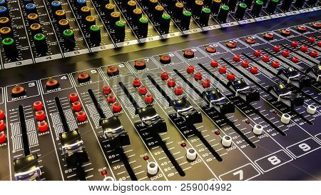 Close Up Of Music Mixer Equalizer Console For Mixer Control Sound Device   Sound Technician Audio Mix poster