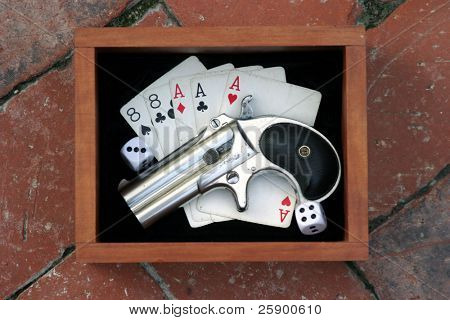 "Circa 1889, Model 95, Type II Model 3 Double Derringer in its wooden display box on black velvet with aces and eights aka a ""Dead Mans Hand"" and dice with 9 showing"