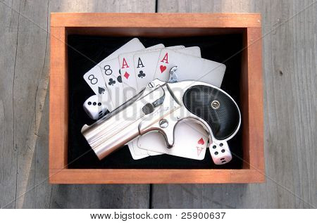 "Circa 1889, Model 95, Type II Model 3 Double Derringer in its wooden display box on black velvet with aces and eights aka a ""Dead Mans Hand"" and dice showing 9"