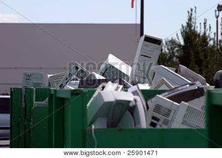 e-Waste (old computers and electronics) being recycled