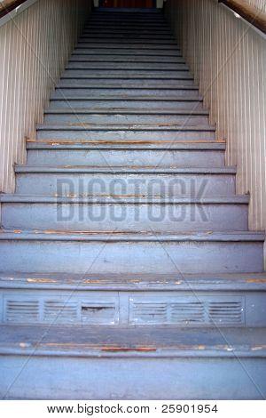 blue wooden stairway