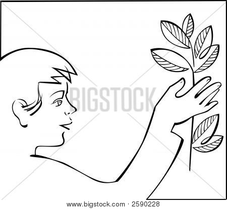 Boy With Plant In Hand