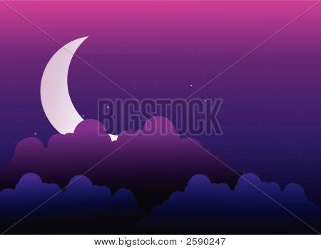 Moon Is Hidden Behind Cloud