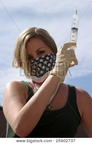 an insane nurse in wearing Hypno Glasses gets ready to inject YOU with a giant Hypodermic Syringe