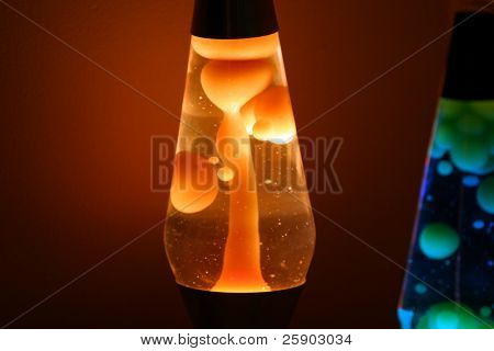 two lava lamps at night