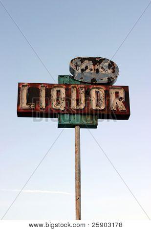 """broken yet beautiful old rusty """"liquor store"""" neon sign"""