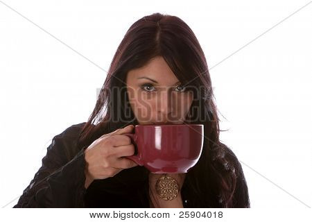 coffee, latte and coco concepts a beautiful young woman enjoys a hot cup of coffee, a latte, coco or hot chocolate isolated on white with room for text