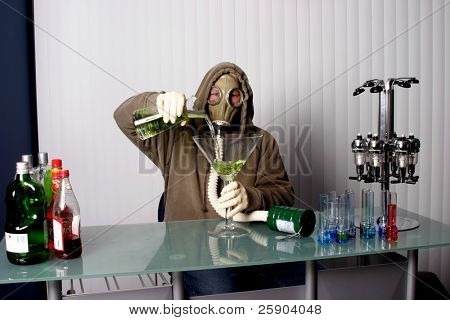 """bartender in a gas mask, name your poison concept """"gas masked"""" bartender fixes You the viewer up a Giant Apple Martini or is it"""