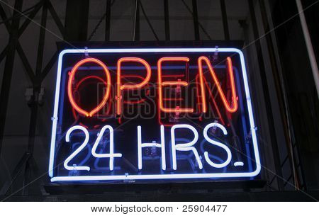 """Open 24 hrs"" ""Neon Sign"""