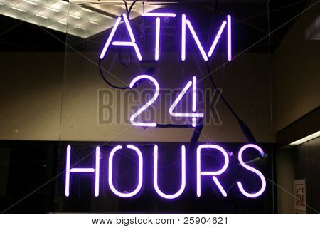 "Neon Sign series  ""atm 24 hours"""