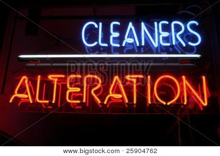 "Neon Sign series  ""cleaners, alteration"""