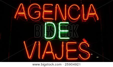 """neon sign"" series ""agencia de viajes"""