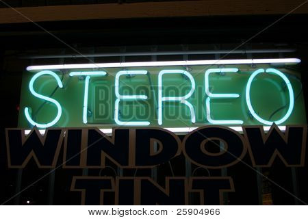 """neon sign"" series stereo"
