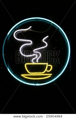 """neon sign"" series ""steaming coffee cup"""