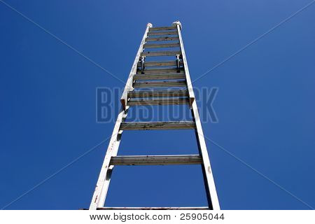 ladder to success concepts an extention ladder extended to the sky
