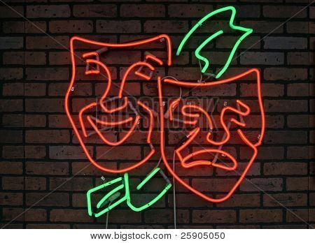 """neon sign series"" ""happy and sad"" masks"