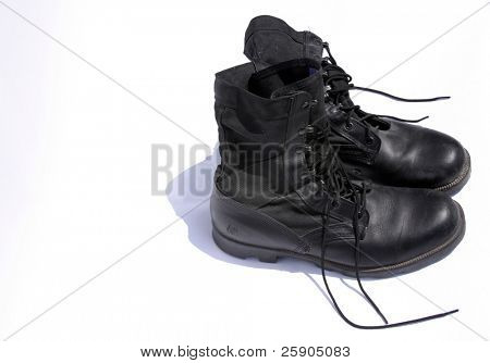 """army boots"" isolated on white"
