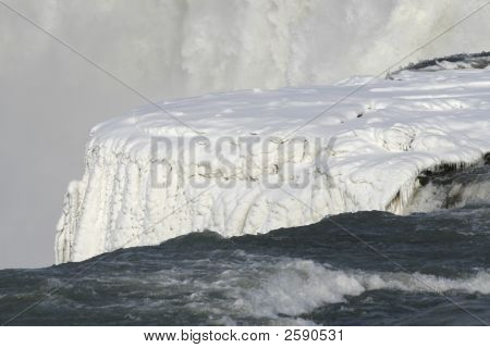 Frozen Niagara Falls In Snow