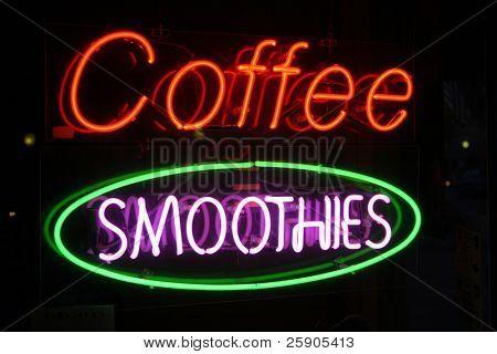 "Série de sinal de néon ""smoothies de café"""