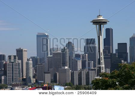 downtown seattle skyline as seen from kerry park on queen anne hill
