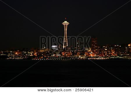 time laps AKA bulb exposure of downtown seattle washington at night as seen from Alki Point