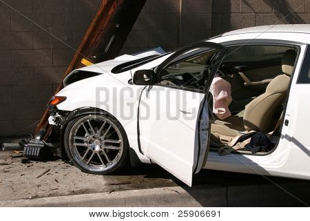 car accident with blown airbag