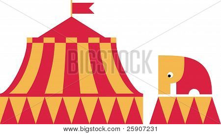 The circus elephant stands