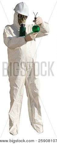 a man in a hazmat suit, wears a gas mask, a hard hat, and rubber gloves while pointing at YOU THE VIEWER and holding a beaker of Unknown Dangerous Liquid isolated on white